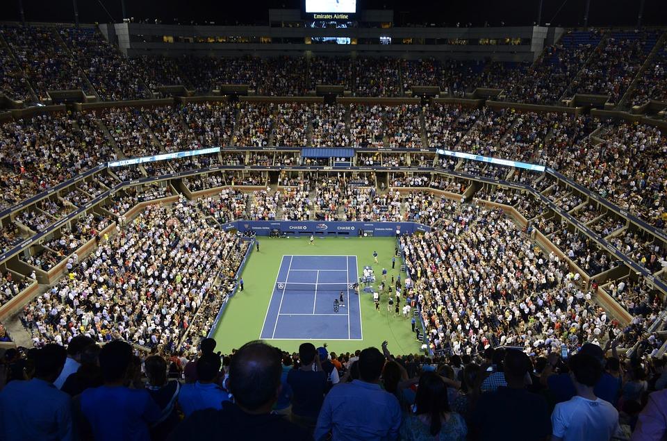 スタジアム テニスコート テニス 視聴者 オブザーバー 私達は開いて ニューヨーク